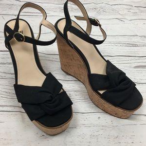 H&M Black Wedge Sandals